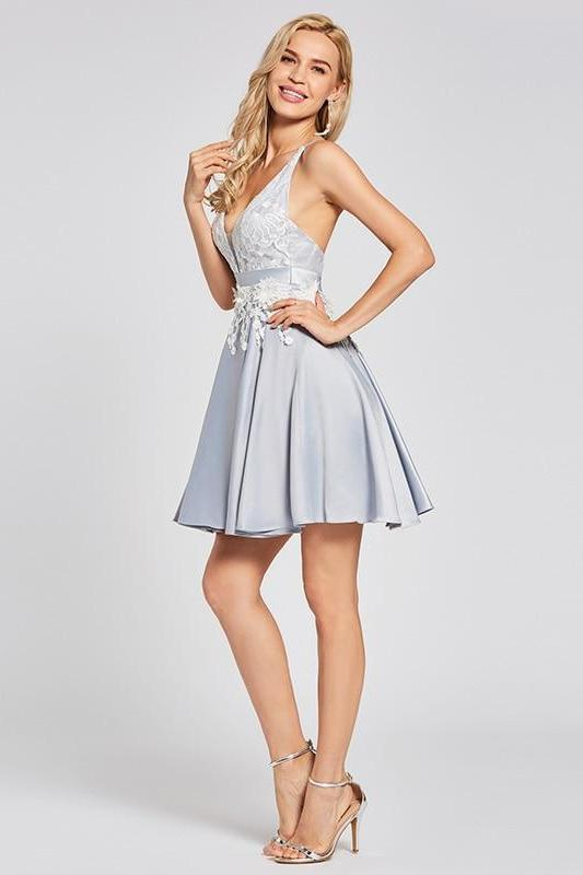 Criss-Cross Straps Silver Sleeveless Above Knee Cocktail Dress | TeresaClare