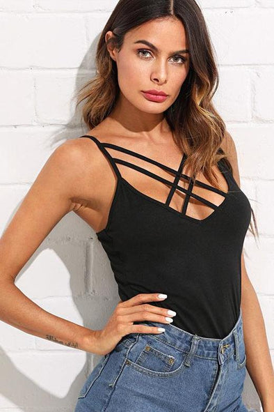 Crisscross Front Deep V Neck Slim Fit Stretchy Camisole | TeresaClare