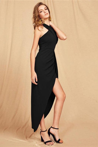 Cross Halter Maxi Party Black Slim Fashion Dress | TeresaClare