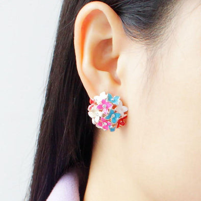 Crystal Rhinestone Leaf Flower Piercing Ear Stud Earrings | TeresaClare