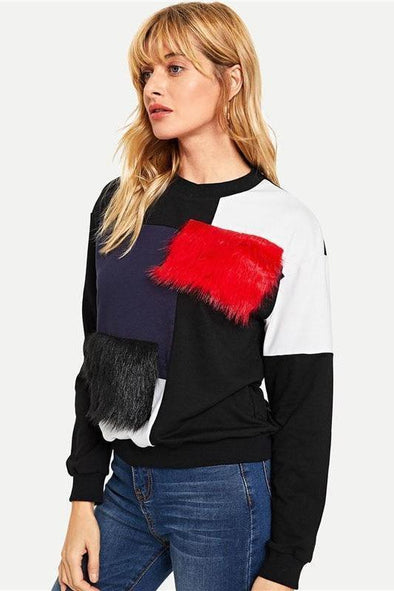 Cut and Sew Faux Fur Patchwork Round Neck Sweater | TeresaClare