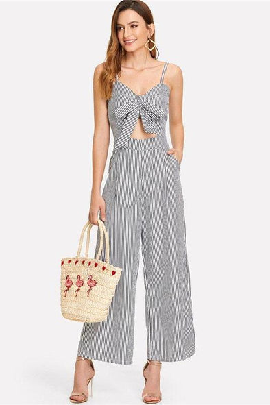 Cut Out Striped Mid Waist Bow Tie Backless Jumpsuit | TeresaClare