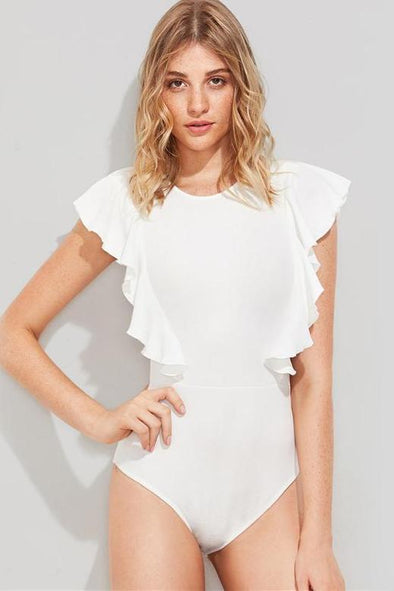 Cute Textured Bodysuit With Cap Sleeve And Ruffles | TeresaClare