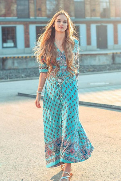 Cyan Bohemian Beach 1/2 Sleeve V-Neck Maxi Length Fashion Dress | TeresaClare