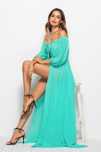 Cyan Solid Sexy Beach Elegant Off-the Shoulder Boho Fashion Dress | TeresaClare