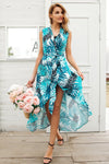 Cyan V Neck Bird Print Summer Sexy Sleeveless Sash Maxi Wrap Fashion Dress | TeresaClare