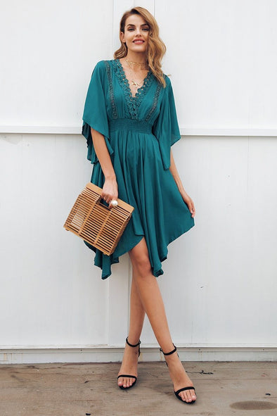 Cyan V Neck Lace Hollow Out Irregular High Waist Midi Fashion Dress | TeresaClare