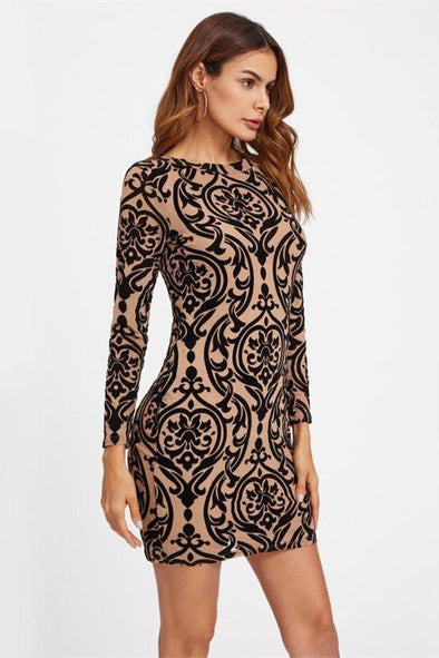 Damask Print Sexy Party Keyhole Back Fashion Dress | TeresaClare
