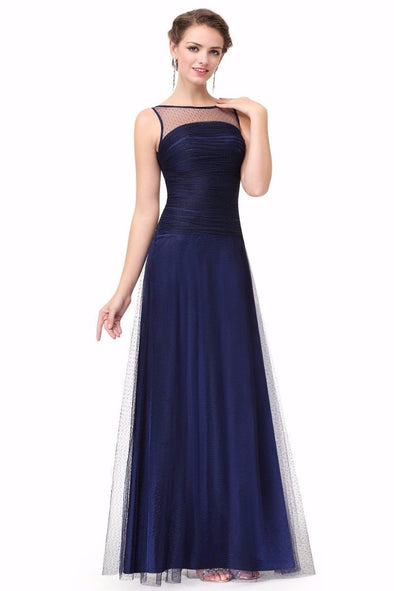 Dark Blue A-line Sleeveless Scoop Neck Floor Length Evening Dress With Lace | TeresaClare