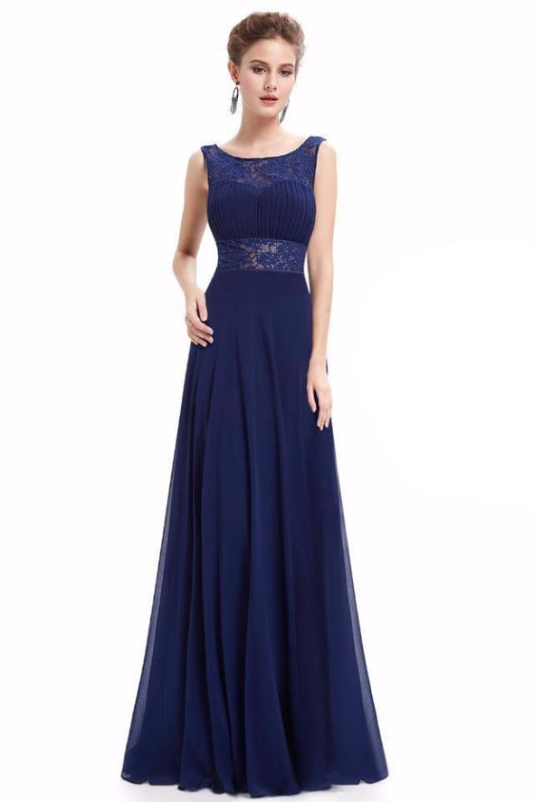 Dark Blue Elegant A-Line Chiffon Scoop Neck Evening Dress With Lace | TeresaClare