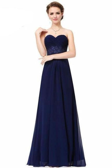 Dark Blue Empire Chiffon Floor-Length Prom Dress With Pleats And Appliques | TeresaClare