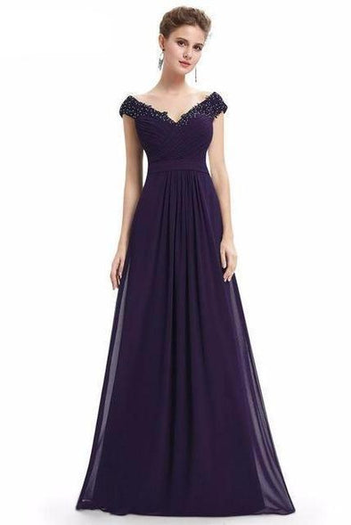 Dark Purple Beautiful Elegant Sexy Deep V neck Long Evening Dress | TeresaClare