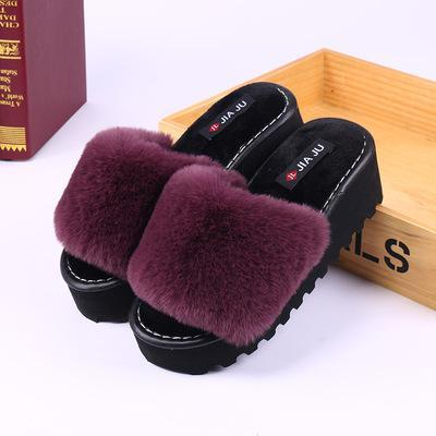 Dark Purple High Heels Floor Towing Cotton Home Skid Proof Warm Slippers | TeresaClare