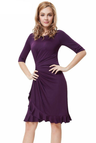 Dark Purple Knee-Length Sheath/Column Satin Cocktail Dress With Pleats | TeresaClare