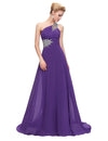 Dark Purple One Shoulder Floor Length Chiffon Prom Dress With Beading | TeresaClare