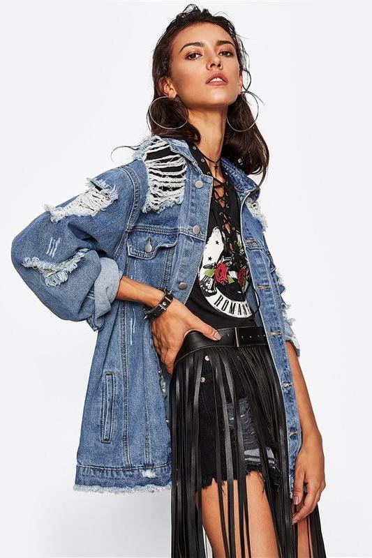 Denim Ripped Blue Fall Single Breasted Jacket | TeresaClare