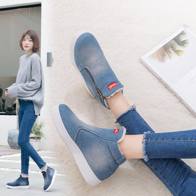 Denim Zipper Ankle Boots Classics Low Top Round Toe | TeresaClare