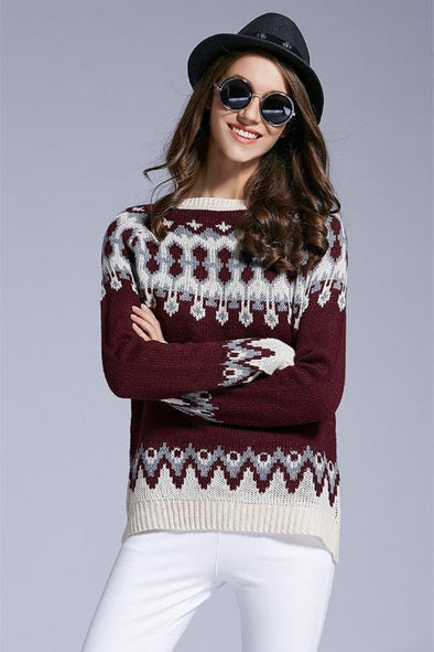 Digital Printed Fashion O-neck Knitted Pullover Sweater | TeresaClare