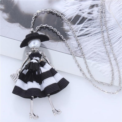 Doll Hat Girls Pendant Silver Color Long Chain Necklace | TeresaClare