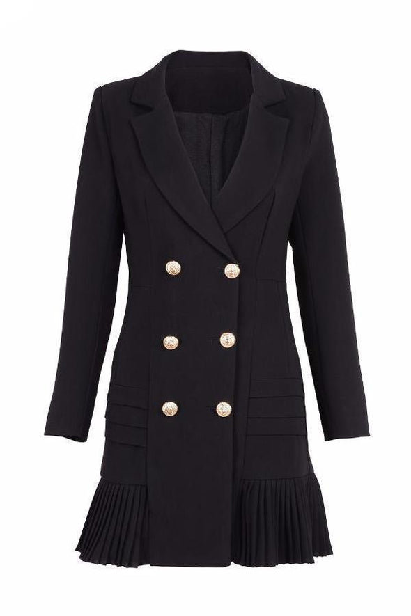 Double Breasted Trench Black Gold Button Full Sleeve Jacket | TeresaClare
