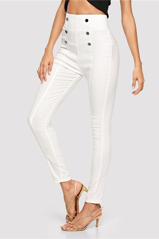 Double Button Embellished Skinny Elegant Workwear Pants | TeresaClare