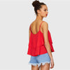 Double Layered Red Vacation Camisole With Spaghetti Strap | TeresaClare