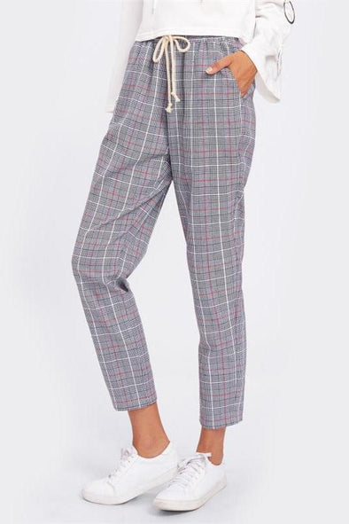 Drawstring Detail Plaid Peg Pants Grey High Waist Pants | TeresaClare