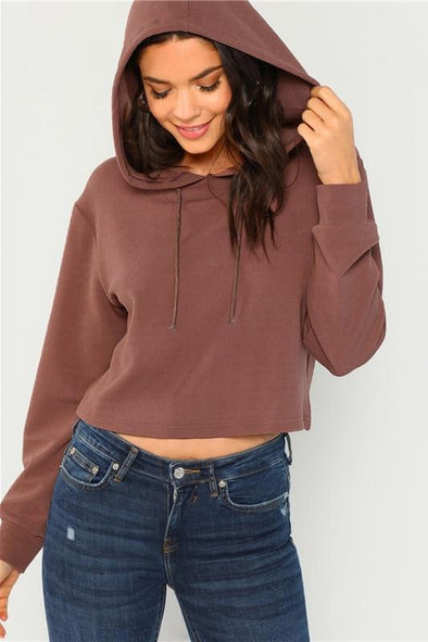 Drawstring Solid Casual Long Sleeve Hooded Sweatshirt | TeresaClare