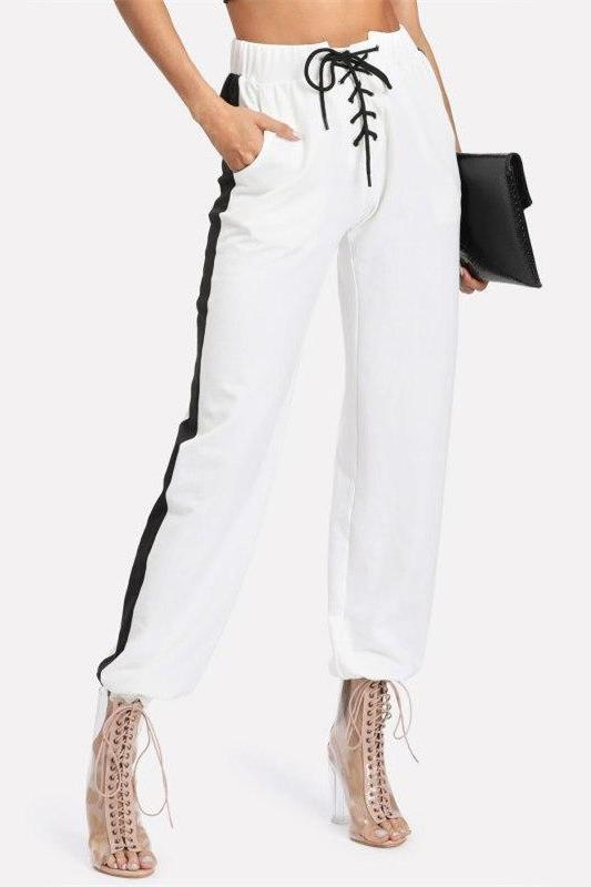 Drawstring White Striped Mid Waist Pocket Lace Up Pants | TeresaClare