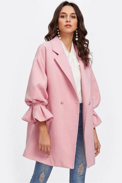 Drop Shoulder Pearl Detail Ruffle Cuff Elegant Coat | TeresaClare
