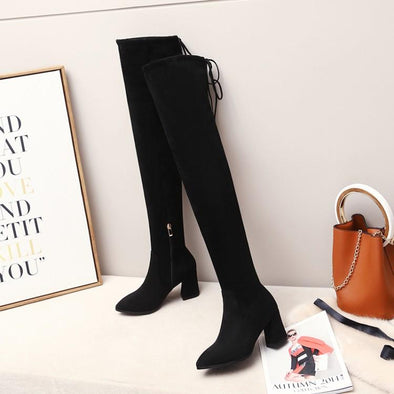 Elastic Cloth Faux Suede Thigh High Boots | TeresaClare