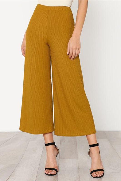Elastic Waist Solid Culotte Loose Pants Ginger Mid Waist Pants | TeresaClare