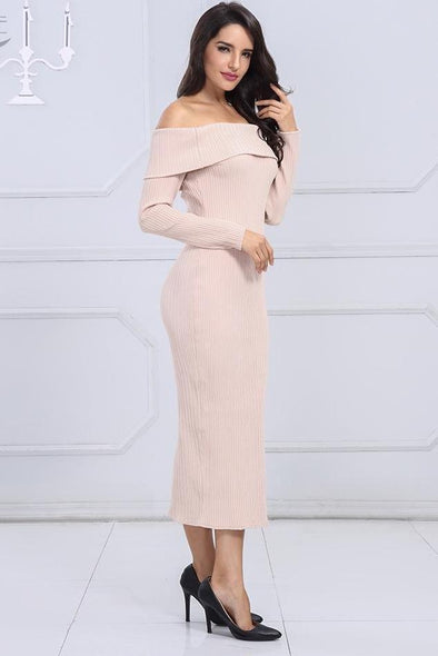 Elegant Apricots Long Sleeve Slash Neck Celebrity Runway Dress | TeresaClare