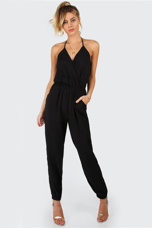 Elegant Black Halter Surplice Self Tie V Neck Jumpsuit | TeresaClare