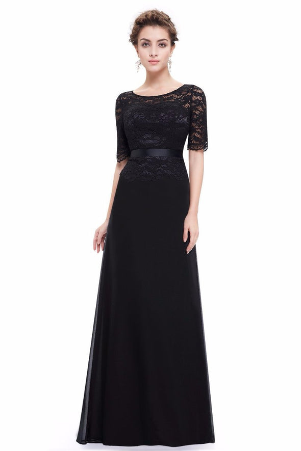 Elegant Black Lace Half Sleeve A Line O-neck Evening Dress | TeresaClare