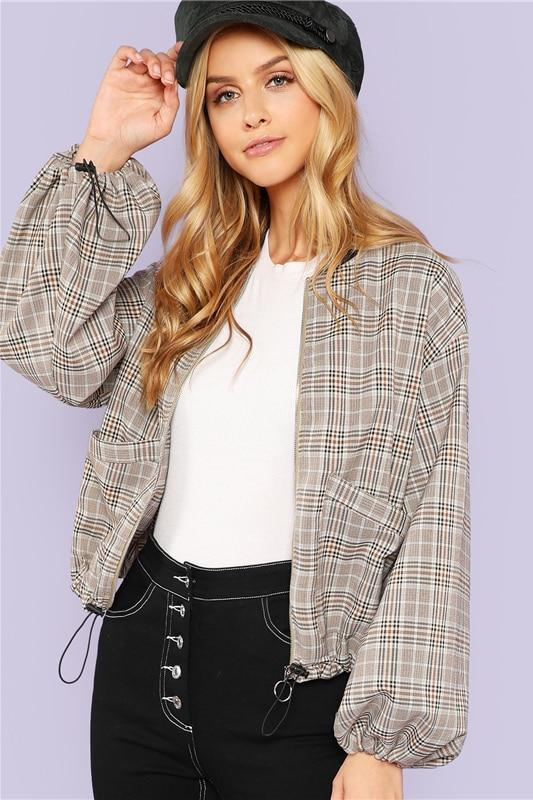 Elegant Casual Pocket Front Zip Up Plaid Bomber Jacket | TeresaClare