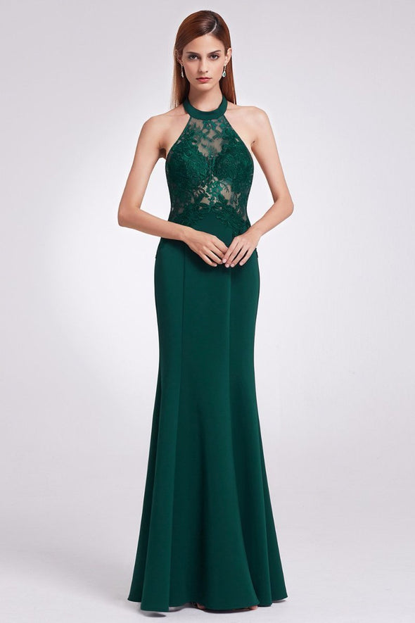 Elegant Halter Long Mermaid Evening Party Dresses with Lace | TeresaClare
