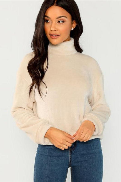 Elegant High Neck Faux Fur Belted Solid Pullover Sweater | TeresaClare