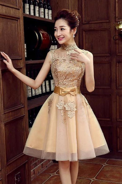 Elegant High Neck Knee-Length Homecoming Dress With Bow | TeresaClare
