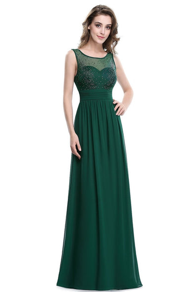Elegant Long Green Chiffon A-Line Sleeveless Beadings Evening Dress | TeresaClare