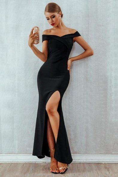 Elegant Off Shoulder Bandage Dress Sexy Long Maxi Dress | TeresaClare