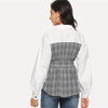 Elegant Office Lady Cut and Sew Belted Plaid Blouse | TeresaClare
