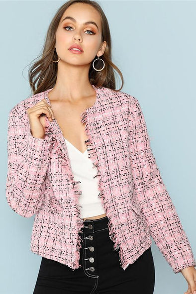Elegant Office Lady Pink Frayed Edge Plaid Tweed Blazer | TeresaClare