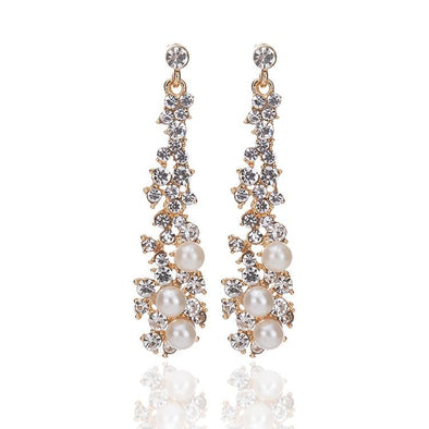 Elegant Pearl Rhinestone Crystal Earrings | TeresaClare