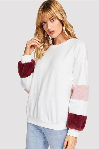 Elegant Preppy Color Block Fleece Sleeve Faux Fur Sweater | TeresaClare