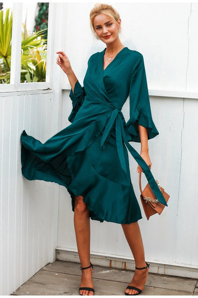 Elegant Satin Solid Wrap Ruffle Flare Sleeve Ladies Dress | TeresaClare