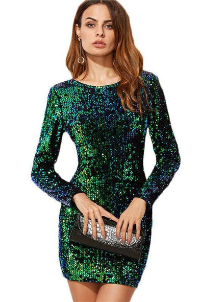 Elegant Sequined Style Brand Green Fashion Dress | TeresaClare