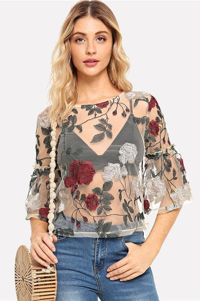 Elegant Sexy Floral Embroidered Keyhole Blouse | TeresaClare