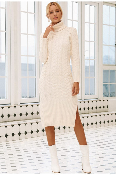 Elegant Side Split Warm Long Sleeve Women Dress | TeresaClare