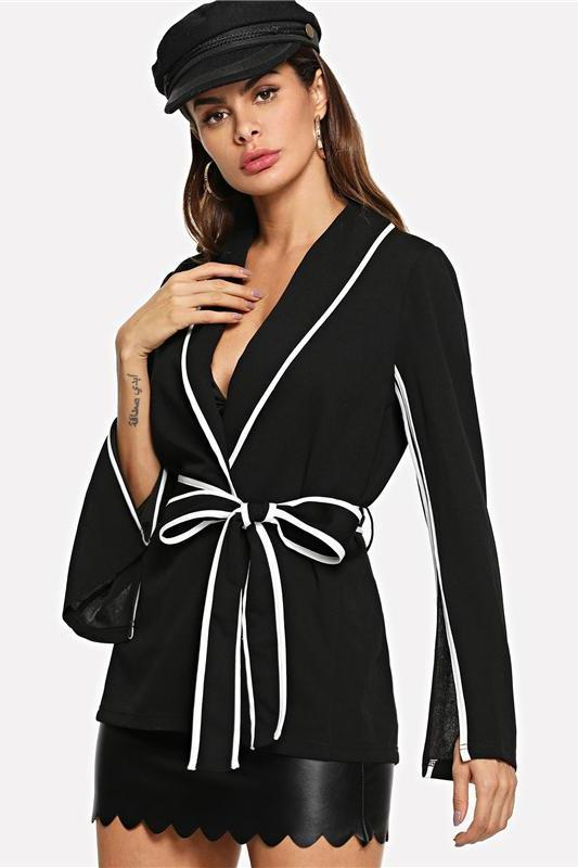 Elegant Slit Sleeve White Striped Notched Belted Blazer | TeresaClare